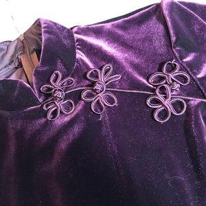 Elegant purple velvet:  long dress, high neck.